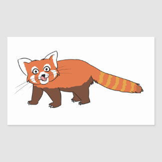 Panda roja del dibujo animado lindo que pega hacia rectangular altavoces