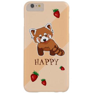 Panda roja feliz linda con la fresa funda para iPhone 6 plus barely there