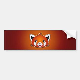 Panda roja (fondo anaranjado) pegatina de parachoque