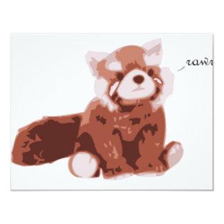 "Panda roja invitación 4.25"" x 5.5"""