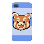 Panda roja linda (rayas azules) iPhone 4 protectores