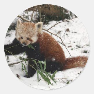 Panda roja pegatina redonda