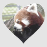 Panda roja pegatinas de corazon