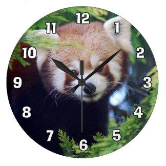 Panda roja reloj redondo grande