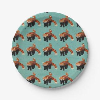 Panda roja y placas de papel del búho plato de papel de 7 pulgadas