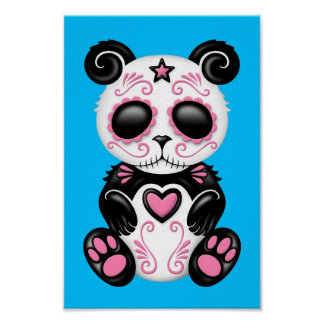 Panda rosada del azúcar del zombi en azul impresiones