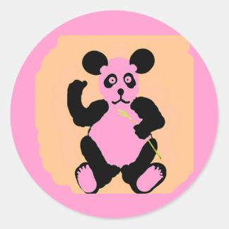 Panda rosada divertida pegatina redonda