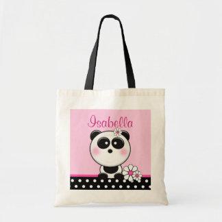 Panda rosada personalizada bolsa tela barata