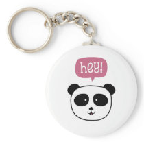 Panda saying hey keychain