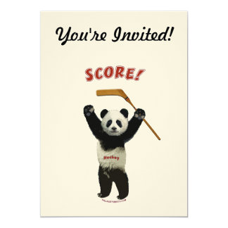 Panda Score Hockey Bear 5x7 Paper Invitation Card