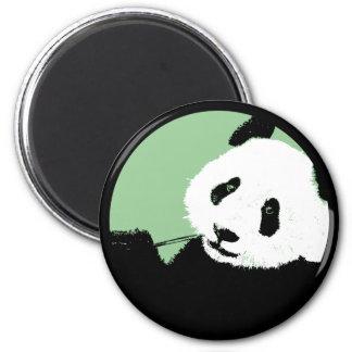 panda. seagreen circle. 2 inch round magnet
