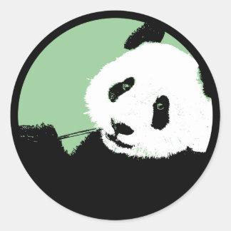 panda. seagreen circle. classic round sticker