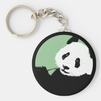 panda. seagreen circle. keychain