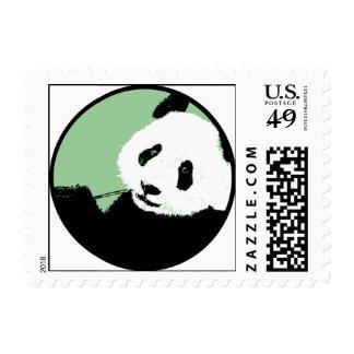 panda. seagreen circle. postage