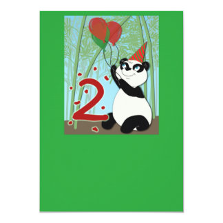 Panda Second birthday invitation