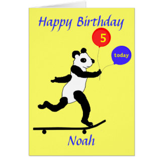 Panda Skateboarding Birthday cards add name age