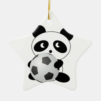 Panda soccer Double-Sided star ceramic christmas ornament