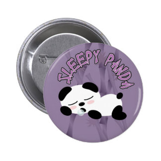 Panda soñolienta pin redondo de 2 pulgadas