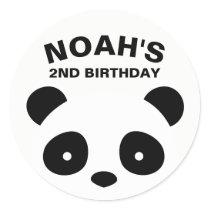 Panda Stickers, Black and White Birthday Classic Round Sticker