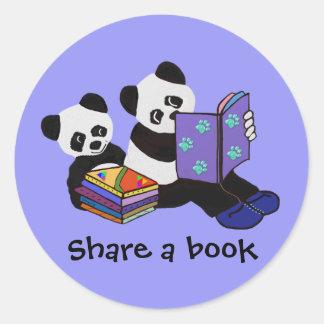 Panda Storytime Classic Round Sticker
