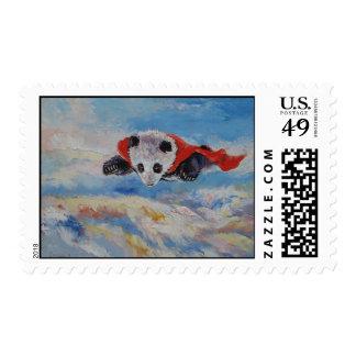 Panda Superhero Postage Stamp