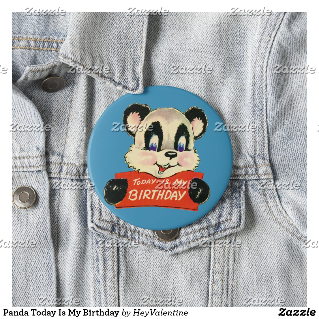 Panda Today Is My Birthday Button