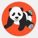 Panda tonta etiqueta redonda