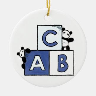 Panda Toy World  - Blue ABC Blocks Ceramic Ornament