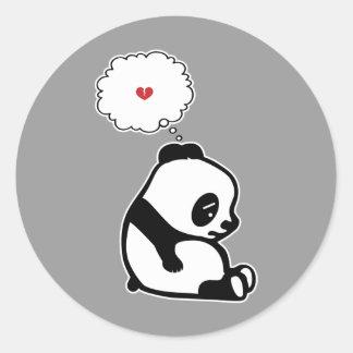 Panda triste pegatina redonda