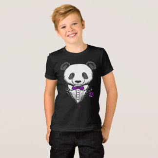 Panda Tuxedo T-Shirt With Purple Bow Tie