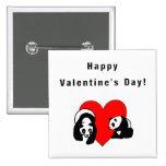 Panda Valentine Pinback Button