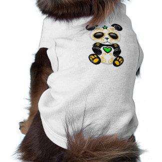 Panda verde y amarilla del azúcar del zombi camisas de mascota