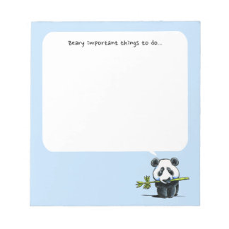 Panda w/ Bamboo To Do Pad Blue Scratch Pad