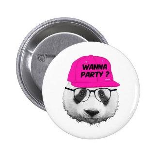 PANDA WANNA PARTY ? PINBACK BUTTON