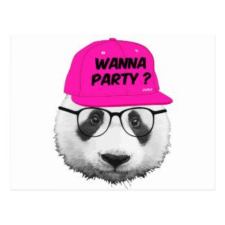 PANDA WANNA PARTY ? POSTCARD