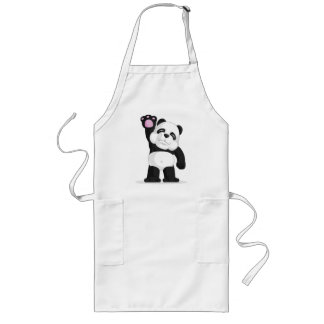 Panda Waving His Hand Long Apron