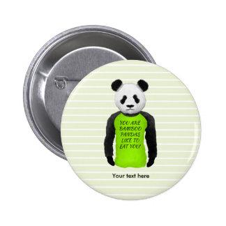 Panda Wearing A Funny Foodie T-shirt Button