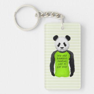 Panda Wearing A Funny Foodie T-shirt Keychain