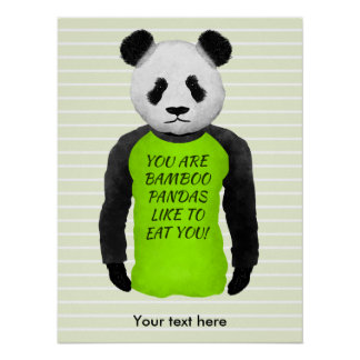 Panda Wearing A Funny Foodie T-shirt Poster