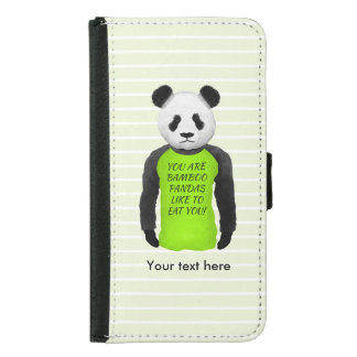 Panda Wearing A Funny Foodie T-shirt Wallet Phone Case For Samsung Galaxy S5