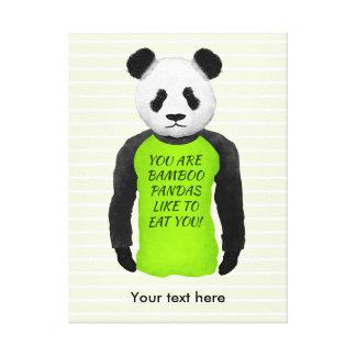 Panda Wearing A Funny Warning T-shirt Canvas Print