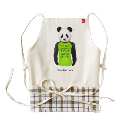 Panda Wearing A Funny Warning T-shirt Zazzle HEART Apron