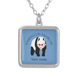 Panda wearing glasses Anarchy Silver Plated Necklace