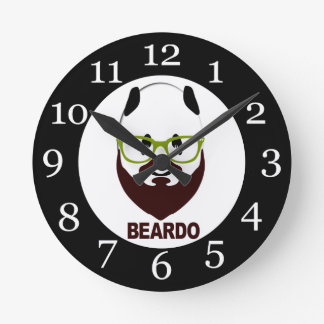 Panda wearing green glasses BEARDO Round Clock