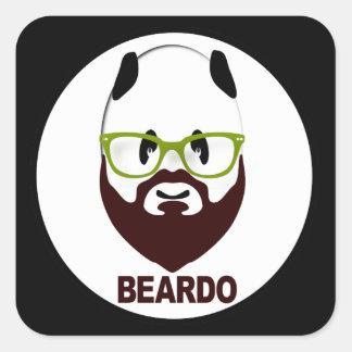 Panda wearing green glasses BEARDO Square Sticker
