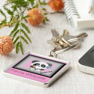 Panda whisperer monogram Silver-Colored square keychain