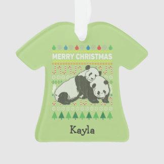 Panda Wildlife Merry Christmas Ugly Sweater Ornament