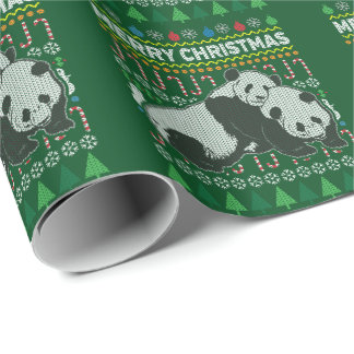 Panda Wildlife Merry Christmas Ugly Sweater Style Wrapping Paper
