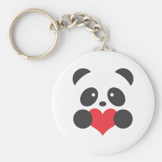 Panda with a heart basic round button keychain