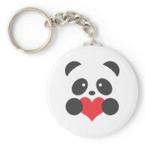 Panda with a heart keychain